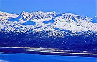 Snow covered Kenai Mountains over Kachemak Bay.  Kenai Peninsusla, Alaska.