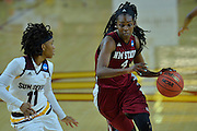March 18, 2016; Tempe, Ariz;  New Mexico State Aggies guard Sasha Weber (4) drives past Arizona State Sun Devils guard Peace Amukamara (11) during a game between No. 2 Arizona State Sun Devils and No. 15 New Mexico State Aggies in the first round of the 2016 NCAA Division I Women's Basketball Championship in Tempe, Ariz. The Sun Devils defeated the Aggies 74-52.