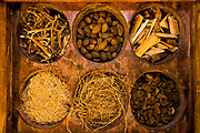 Herbal medicine used in Ayurveda medical treatment, Kerala, India.