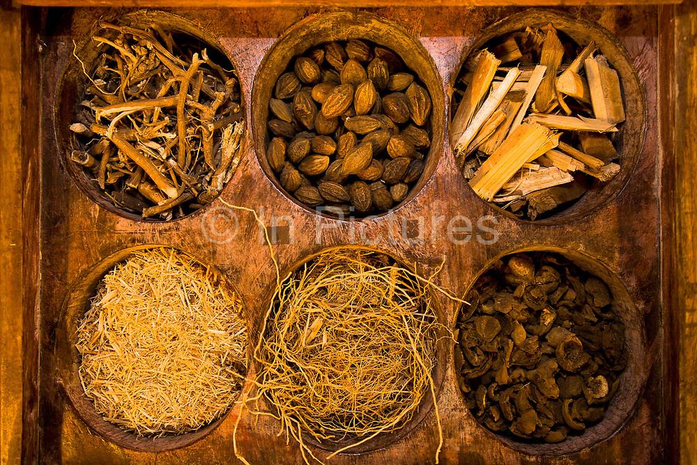 Herbal medicine used in Ayurveda medical treatment, Kerala, India.