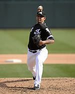 GLENDALE, ARIZONA - MARCH 04:  Jose Ruiz #66 of the Chicago White Sox pitches against the Los Angeles Angels on March 4, 2019 at Camelback Ranch in Glendale Arizona.  (Photo by Ron Vesely)  Subject:  Jose Ruiz