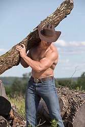 shirtless muscular cowboy hauling tree trucks outdoors on a ranch