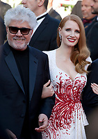 President of the jury Pedro Almodovar and Jury member Jessica Chastain arriving to the Closing Ceremony and awards at the 70th Cannes Film Festival Sunday 28th May 2017, Cannes, France. Photo credit: Doreen Kennedy