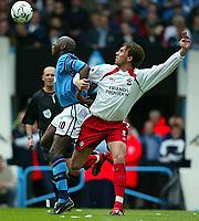 Photo Aidan Ellis.<br />Manchester City v Southampton (FA Barclaycard Premiership).11/05/2003.<br />City's Shaun Goater and Southampton's Claus Lundekvam