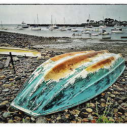 """Skiffs on the shore in Rye Harbor, Rye, New Hampshire. iPhone photo - suitable for print reproduction up to *' x 12"""""""
