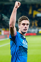 KERKRADE - 16-01-2015, RODA JC - AZ, Parkstad limburg Stadion, 0-1, AZ speler Markus Henriksen juicht na afloop.