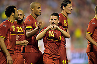 Fotball<br /> 07.06.2014<br /> Belgia v Tunisia<br /> Foto: PhotoNews/Digitalsport<br /> NORWAY ONLY<br /> <br /> Dries Mertens of Belgium celebrates scoring the opening goal during a FIFA international friendly match between Belgium and Tunisia as part of the preparation of the Belgian national soccer team prior to the FIFA World Cup 2014 at the King Baudouin Stadium in Brussels, Belgium.