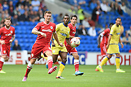 Anthony Pilkington of Cardiff city in action. Skybet football league championship match, Cardiff city v Sheffield Wed at the Cardiff city stadium in Cardiff, South Wales on Saturday 27th Sept 2014<br /> pic by Andrew Orchard, Andrew Orchard sports photography.