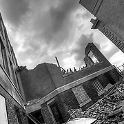 Ruins of Horace Mann Elementary School on 39th Street between Garfield and Euclid, Kansas City, Missouri. A fire tore through the abandoned building several months prior.