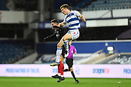Brentford Forward Sergi Canós(7) and QPR Defender Rob Dickie(4) battle for posession during the EFL Sky Bet Championship match between Queens Park Rangers and Brentford at the Kiyan Prince Foundation Stadium, London, England on 17 February 2021.