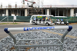 09-07-18 Lanseria Airport. Golf carts in use near a closed off area where ongoing construction is taking place at Lanseria Airport. Picture: Karen Sandison/African News Agency (ANA)