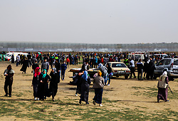March 30, 2019 - Gaza City, The Gaza Strip, Palestine - Palestinian women seen during the march..Palestinian protesters march towards the Israel-Gaza border, on the first anniversary of the Great March of Return protests. (Credit Image: © Mahmoud Issa/SOPA Images via ZUMA Wire)