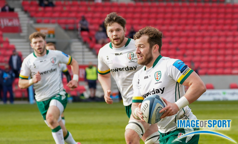 London Irish Fullback James Stokes makes a break during a Gallagher Premiership Round 14 Rugby Union match, Sunday, Mar 21, 2021, in Eccles, United Kingdom. (Steve Flynn/Image of Sport)