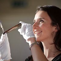 Elena Ratcheva of Lyon & Turnbull auctioneers in Edinburgh shows off an 18th Century razor belonging to the poet Robert Burns which is coming up for auction.