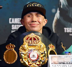 September 13, 2017 - Las Vegas, Nevada, United States of America - WBA, WBC, IBO, IBF Middleweight Boxing Champion Gennady Golovkin attends the final press conference  for the Undisputed IBO, IBF, WBC, WBA Middleweight Championship bout with Canelo Alvarez on September13, 2017 at the David Copperfield Theater inside the MGM Grand  hotel & Casino in Las Vegas, Nevada (Credit Image: © Marcel Thomas via ZUMA Wire)