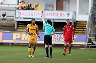 Joss Labadie of Newport county (l)  is shown a red card and sent off by referee Darren England as Crawley player Josh Yorwerth  (who is also sent off after same incident) looks on. EFL Skybet football league two match, Newport county v Crawley Town at Rodney Parade in Newport, South Wales on Saturday 1st April 2017.<br /> pic by Andrew Orchard, Andrew Orchard sports photography.