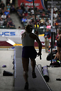 Silhouette of women's elite winner Lisa Gunnarsson during the National Pole Vault Summit, Friday, Jan. 17, 2020, in Reno, Nev.