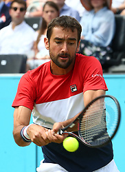 June 23, 2018 - London, England, United Kingdom - Marin Cilic (CRO) in action..during Fever-Tree Championships  Semi Final match between Marin Cilic (CRO) against Nick Kyrgios (AUS)) at The Queen's Club, London, on 23 June 2018  (Credit Image: © Kieran Galvin/NurPhoto via ZUMA Press)