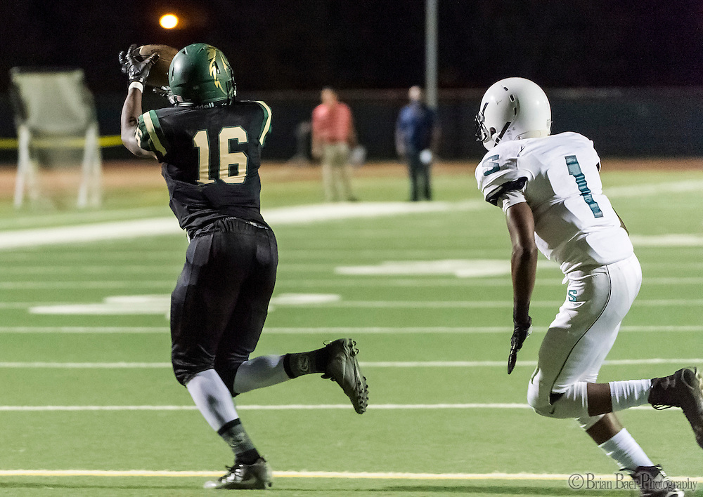 Monterey Trail Mustangs Bishop Brown (16), catches the ball during the first quarter as the Monterey Trail Mustangs host the Sheldon High School Huskies Friday Sep 23, 2016.<br /> photo by Brian Baer