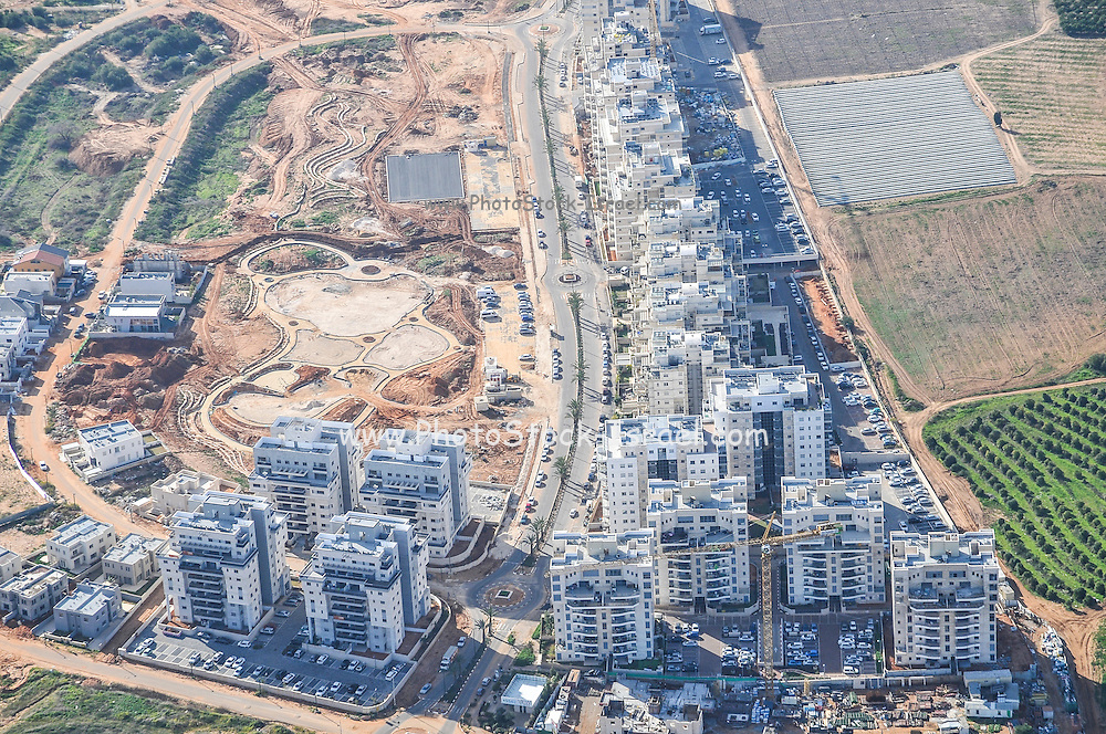 Aerial view of Sharon District, Israel from within a Cessna airplane new housing project