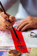 """22 JANUARY 2013 - BANGKOK, THAILAND:   A detail photo of a calligrapher writing out Chinese New Year decorations at his table on Charoen Krung Road in Bangkok's Chinatown district. Chinese New Year is not an official public holiday in Thailand, but it is one the biggest celebrations in the Bangkok, which has a large Chinese population. Chinese New Year is February 10 this year. It will be the """"Year of the Snake.""""    PHOTO BY JACK KURTZ"""
