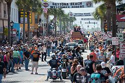 Budweiser Clydsdale parade down Main Street during Daytona Beach Bike Week 2015. FL, USA. March 14, 2015.  Photography ©2015 Michael Lichter.
