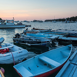 Skiffs at dawn in Tenants Harbor, Maine.