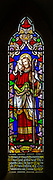 Stained glass window the Good Shepherd church of Saint Mary, Hemington, Somerset, England, UK
