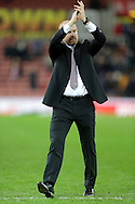 Burnley manager Sean Dyche applauds the travelling support at the end of the game - Football - Barclays Premier League - Stoke City vs Burnley - Britannia Stadium Stoke - Season 2014/2015 - 22nd November 2015 - Photo Malcolm Couzens /Sportimage