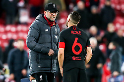 Liverpool manager Jurgen Klopp has an animated talk with Koke of Atletico Madrid - Mandatory by-line: Robbie Stephenson/JMP - 11/03/2020 - FOOTBALL - Anfield - Liverpool, England - Liverpool v Atletico Madrid - UEFA Champions League Round of 16, 2nd Leg