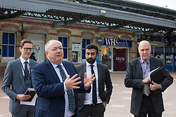 Maidenhead, UK. 11th October, 2021. Bob Beveridge, chair of Thames Valley Berkshire Local Enterprise Partnership, speaks on the occasion of the opening of a new Maidenhead station forecourt. The £3.75m refurbishment is intended to make the area around the station more commuter-friendly in anticipation of an increase in passengers when Crossrail opens and to improve both the interchange between trains and other forms of transport and walking and cycling links between the station and the town centre.