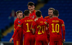 CARDIFF, WALES - Wednesday, November 18, 2020: Wales' Kieffer Moore celebrates after scoring the third goal during the UEFA Nations League Group Stage League B Group 4 match between Wales and Finland at the Cardiff City Stadium. Wales won 3-1 and finished top of Group 4, winning promotion to League A. (Pic by David Rawcliffe/Propaganda)