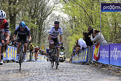 Luke Rowe (WAL) Team Sky and Peter Sagan (SVK) Bora-Hansgrohe on the the first ascent of the Kemmelberg during the 2019 Gent-Wevelgem in Flanders Fields running 252km from Deinze to Wevelgem, Belgium. 31st March 2019.<br /> Picture: Eoin Clarke | Cyclefile<br /> <br /> All photos usage must carry mandatory copyright credit (© Cyclefile | Eoin Clarke)