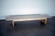 a bench inside an empty space