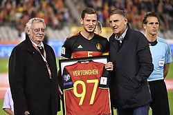 October 10, 2017 - Brussels, BELGIUM - KBVB-URBSFA Belgium soccer union Chairman Gerard Linard and Belgium's captain Jan Vertonghen and Jan Ceulemans pictured as Ceulemans hands over the shirt of the number of selection, 97 for Vertonghen, new Belgian record, 97, ahead of a soccer game between Belgian national team Red Devils and Cyprus, in Brussels, Tuesday 10 October 2017, game 9 in Group H of the qualifications for the 2018 World Cup. BELGA PHOTO DIRK WAEM (Credit Image: © Dirk Waem/Belga via ZUMA Press)
