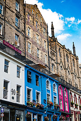 View of colourful shops on historic Victoria Street in the Old Town of Edinburgh , Scotland, United Kingdom