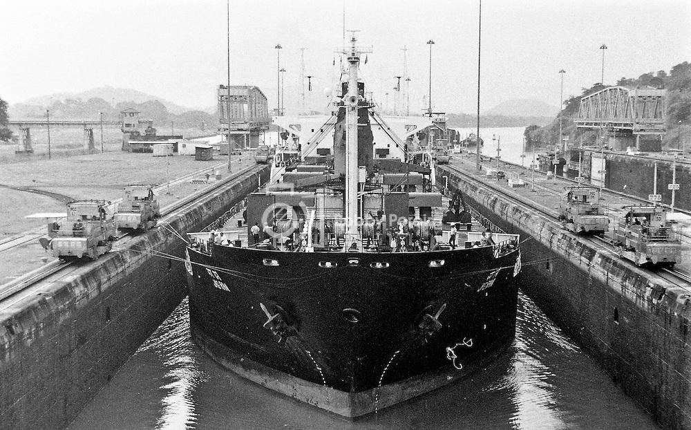 Ship entering the Miraflores Locks at the Panama Canal.