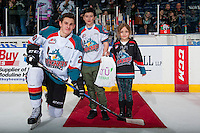 KELOWNA, CANADA - FEBRUARY 10: Nolan Foote #29 of the Kelowna Rockets accepts the first star of the game with three goals and his first WHL hat trick against the Vancouver Giants on February 10, 2017 at Prospera Place in Kelowna, British Columbia, Canada.  (Photo by Marissa Baecker/Shoot the Breeze)  *** Local Caption ***