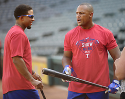 September 13, 2017 - Arlington, TX, USA - Texas Rangers third baseman Adrian Beltre, right, and shortstop Elvis Andrus after taking batting practice before a game against the Seattle Mariners at Globe Life Park in Arlington, Texas, on Wednesday, Sept. 13, 2017. (Credit Image: © Max Faulkner/TNS via ZUMA Wire)
