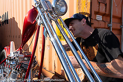 "Hawke Lawshe with his Vintage Technologies 1946 Harley-Davidson ""Hades"" Knucklehead chopper at the docks on setup day for the 27th Annual Mooneyes Yokohama Hot Rod Custom Show 2018. Yokohama, Japan. Saturday, December 1, 2018. Photography ©2018 Michael Lichter."