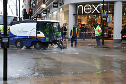 © Licensed to London News Pictures. 20/01/2012. London, U.K..A section between Park Lane and Portman Street has been closed to traffic with 18 bus routes on diversion, said Transport for London (TfL)..Thames Water said at least 10 shops had been flooded including Primark, Ann Summers and Next..Photo credit : Rich Bowen/LNP