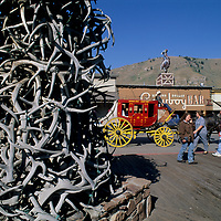 WYOMING, Antler arch in front of the well-known Million Dollar Cowboy Bar in Jackson.