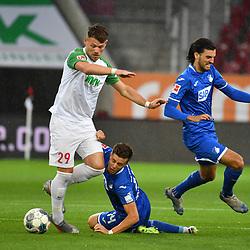 v.l. Eduard LOEWEN (Löwen)(A), Christoph BAUMGARTNER (1899) und Florian GRILLITSCH (1899)<br /> <br /> Sport: Fussball: 1. Bundesliga: Saison 19/20: 32. Spieltag, 17.06.2020.<br /> FC Augsburg (A) - TSG 1899 Hoffenheim (1899) <br /> Foto: Frank Hoermann/FOTOAGENTUR SVEN SIMON/POOL/PIX-Sportfotos<br /> <br /> Nur fuer journalistische Zwecke! <br /> Only for editorial use!<br /> <br /> DFL regulations prohibit any use of photographs as image sequences and/or quasi-video.<br /> National and International News Agencies OUT<br /> NO RESALE!