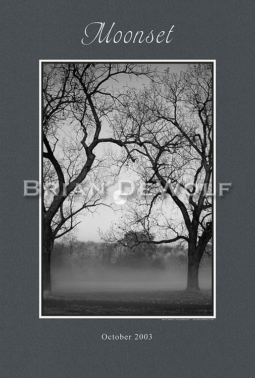 """Moon setting as the morning sun rises at Wheeler Park in Geneva, IL. 24"""" x 36""""   This poster is  individuallly printed, to order,  on luster poster-weight paper. Price is $50 and can be paid by mail or by Paypal. Order using the Contact Form on this website."""