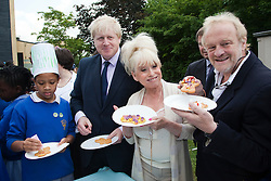 © under license to London News Pictures.  19/05/2011. LONDON, UK. Photocall for The Big Lunch. L to R  London Mayor Boris Johnson,   Barbara Windsor and Chef Antony Worrall Thompson call on Londoners to catch the street party fever. The Big Lunch is an annual one-day get together where neighbours and local communities share lunch and enjoy a street party. Last year, 800,000 people took part across the UK, over 160,000 of which were in London. Photo credit should read Bettina Strenske/LNP