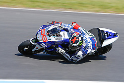 © Licensed to London News Pictures. 19/10/2012. Jorge Lorenzo (SPA) riding for the Yamaha Factory Racing  during the Qualifying day of the round 16 2013 Tissot Australian Moto GP at the  Phillip Island Grand Prix Circuit Victoria, Australia. Photo credit : Asanka Brendon Ratnayake/LNP