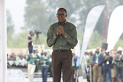 MUSANZE (RWANDA), Sept. 1, 2017  Rwandan President Paul Kagame speaks at a gorilla naming ceremony in Musanze District, northern Rwanda, on Sept. 1, 2017. Rwanda Development Board (RDB) on Friday held a gorilla naming ceremony at Kinigi in Musanze District, northern Rwanda. About 19 baby gorillas born late last year and this year were given names at the event. (Credit Image: © Gabriel Dusabe/Xinhua via ZUMA Wire)