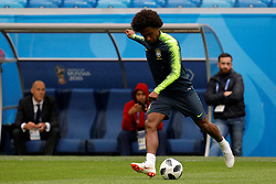 June 21, 2018 - Saint Petersburg, Russia - Willian of Brazil national team during a Brazil national team training session during the FIFA World Cup 2018 on June 21, 2018 at Saint Petersburg Stadium in Saint Petersburg, Russia. (Credit Image: © Mike Kireev/NurPhoto via ZUMA Press)