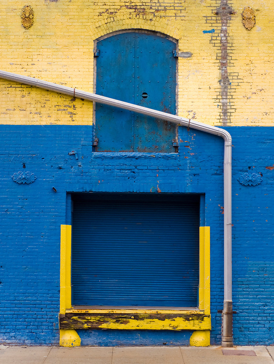 Loading dock door near the Javits Center in the Hells Kitchen area of New York City.