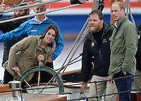 The Duke and Duchess of Cambridge tour Victoria Harbour on a Tall Ship run by the Sail and Life Training Society, in Victoria, British Columbia, Canada, on the 1st October 2016.<br /> <br /> Picture by James Whatling